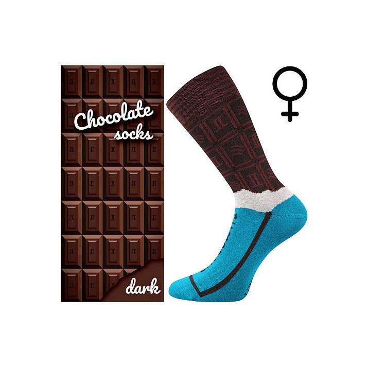 Barevné ponožky čokoláda dark